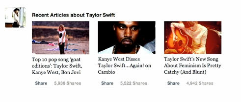 Facebook News Feed - Taylor Swift articles about her