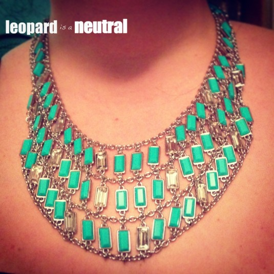 Milly for Banana Republic - Teal Bib Necklace - Leopard is a Neutral