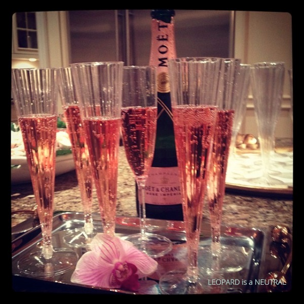 Blush & Gold Engagement Party Inspiration- Rose Moet bubbly