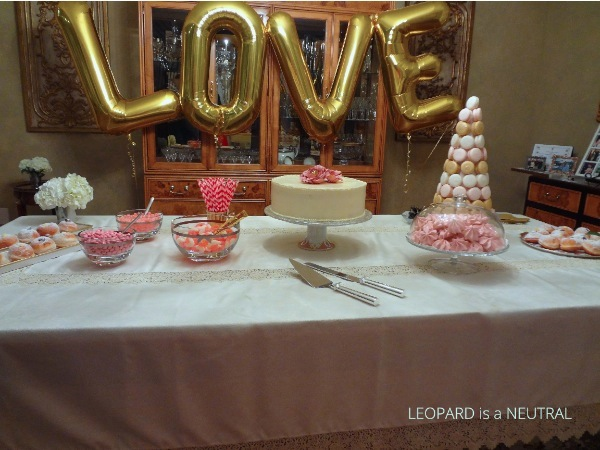 Blush & Gold Engagement Party Inspiration - sweet table with gold love balloons