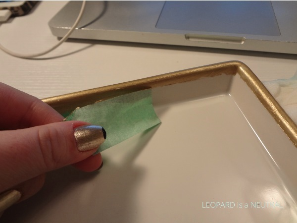 DIY Gold Foil Plates - remove tape