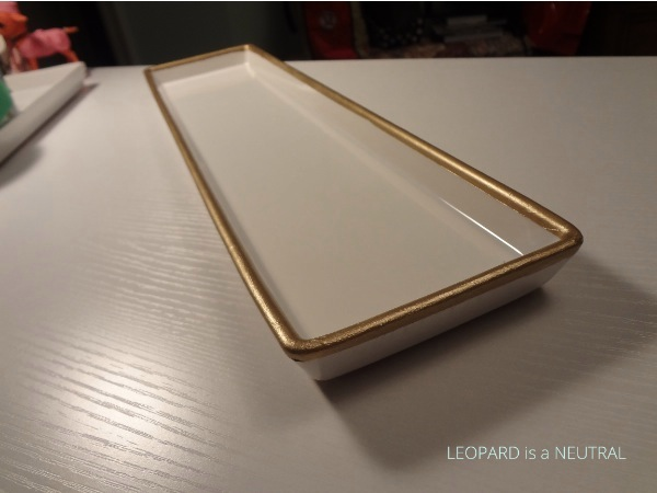 Diy gilded serving plates leopard is a neutral for Plain white plates ikea
