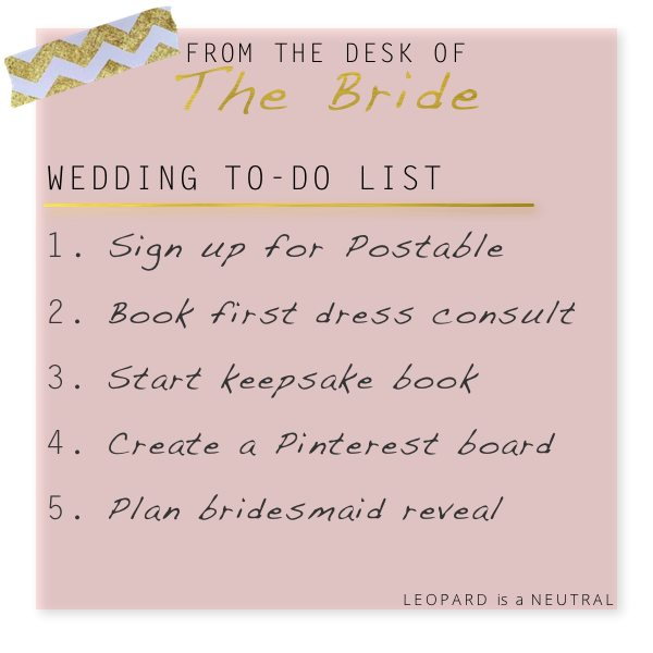 Bride To-Do List - Guestlist, bridesmaids, keepsake, dress
