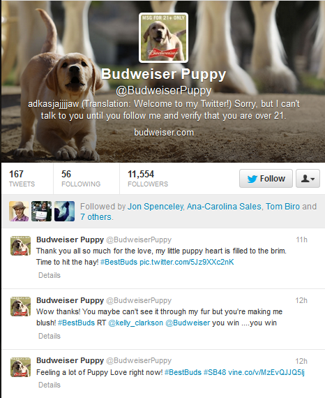 Budweiser Puppy Twitter account