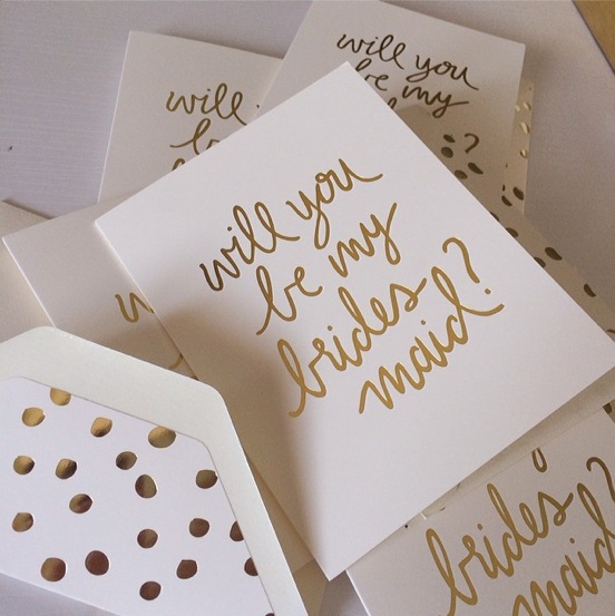 JCrew x Sugar paper LA Bridesmaid gold foil cards