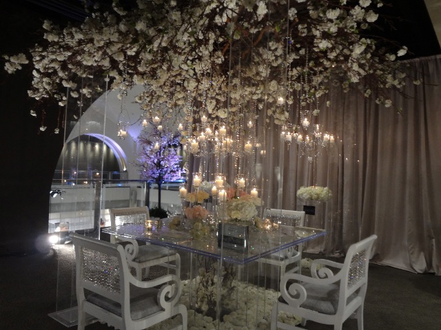 Wedding chuppah flower ceiling