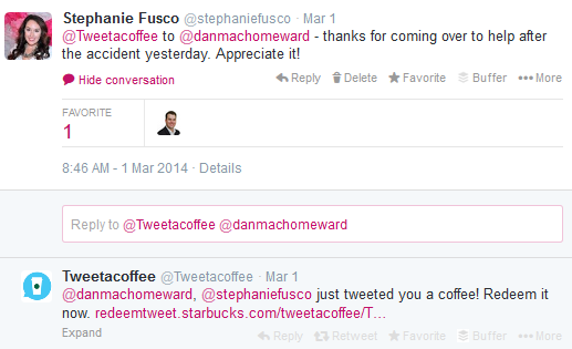 Starbucks Tweet A Coffee Canada