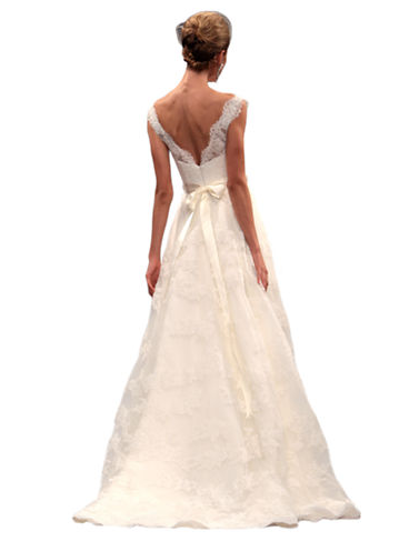 Kleinfeld Canada - Anne Barge V-neck A-Line Lace Gown - back