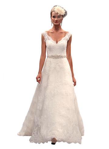 Kleinfeld Canada - Anne Barge V-neck A-Line Lace Gown