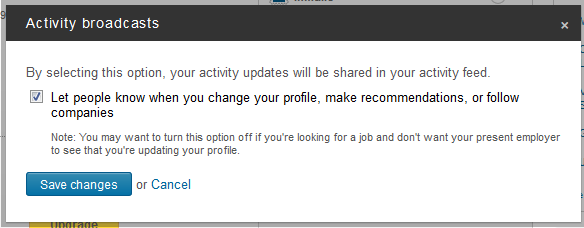 LinkedIn Activity Setting