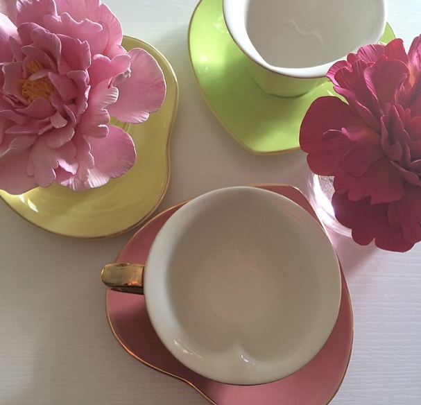 Heart-shaped teacups