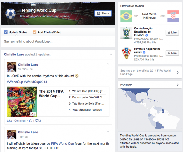 Facebook #WorldCup hashtag