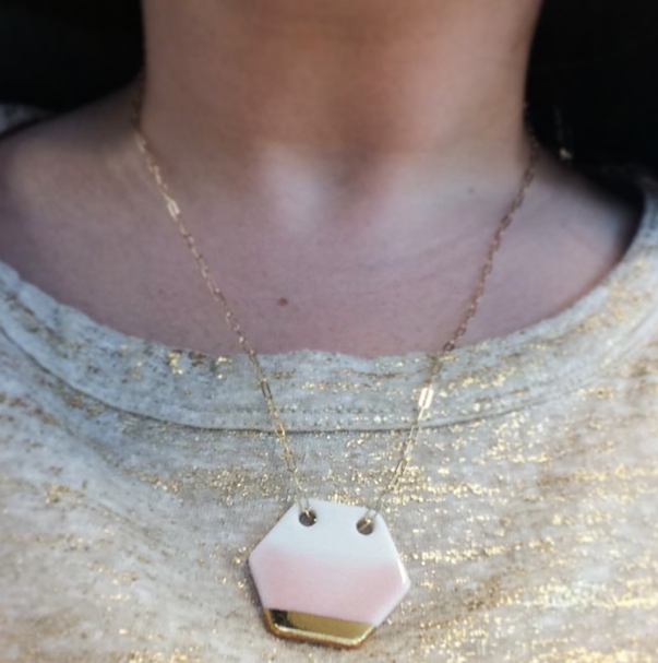 Brika Ash Large Hex Necklace blush & gold