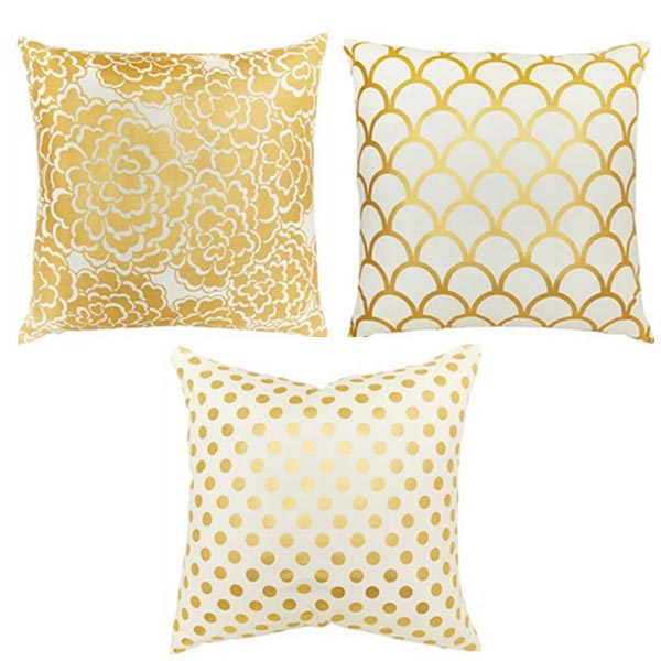 Caitlin Wilson Textiles Gold Foil Pillows Indigo