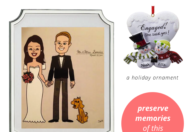 Unique engagement gifts - custom wedding cartoon art and ornament