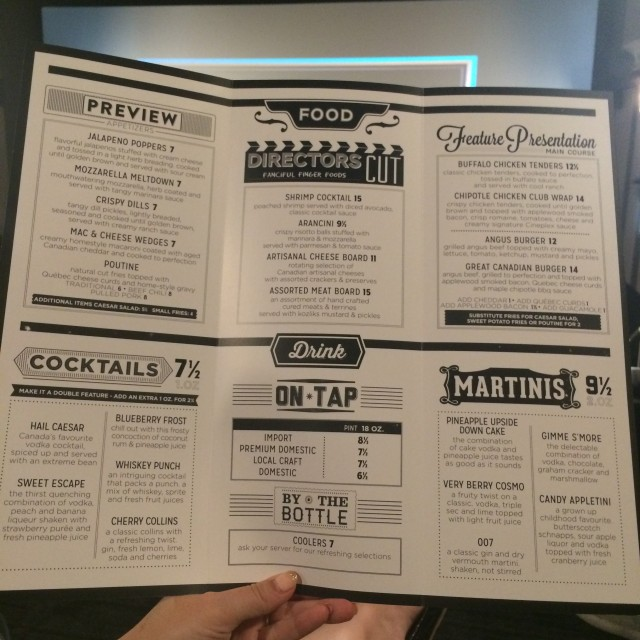 Cineplex VIP shops at don mills menu