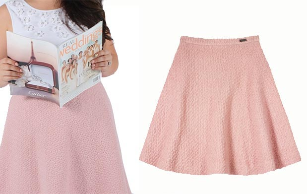 Pink Tartan Boucle A Line Skirt fall pieces