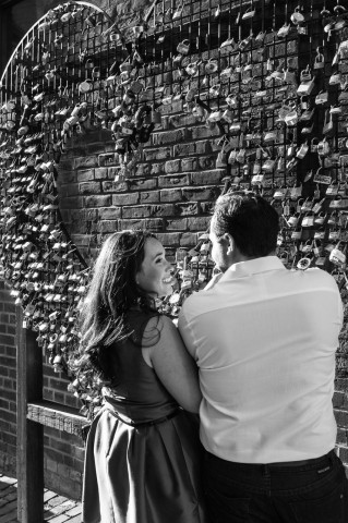 5ive15ifteen photo engagement shoot - Stephanie Fusco - Distillery District love locks