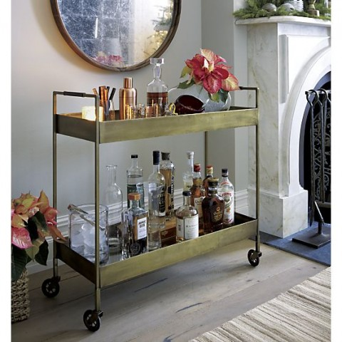 Crate and Barrel Libations Brass Bar Cart
