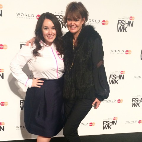 Stephanie Fusco and Kim Newport Mimran Pink Tartan WMCFW 2015