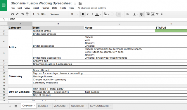 Stephanie Fusco Wedding Planning Spreadsheet Organizer