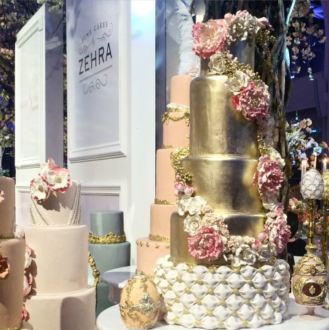 Gold foil & pink Cakes By Zehra Wedluxe 2015