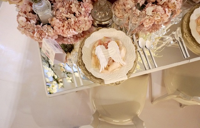 Ethereal blush white tablescape wedding