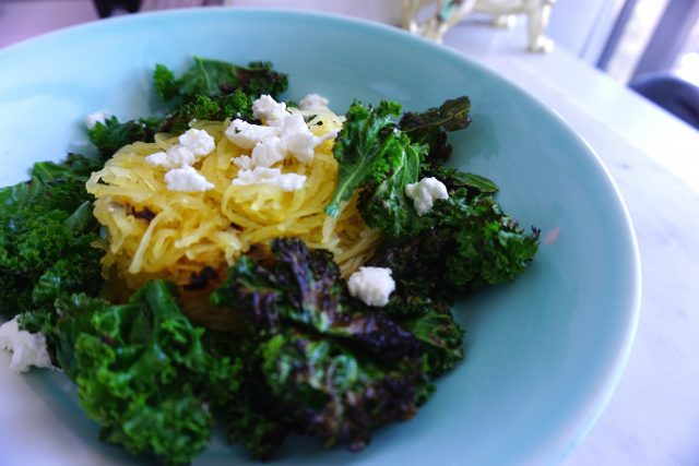 Crispy Kale and Coconut Oil Spaghetti Squash recipe