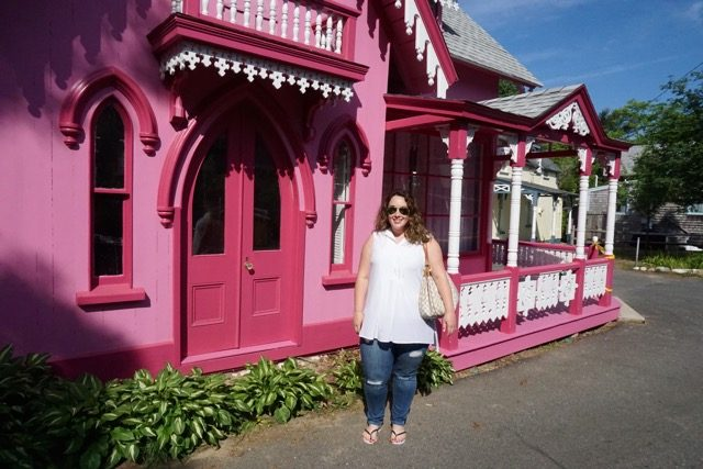 Hot pink gingerbread house Oak Bluffs MV